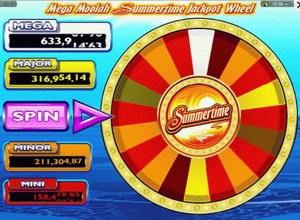 Mega Moolah Summertime jackpot wheel
