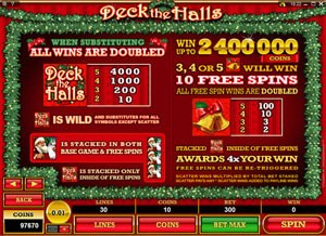 Deck The Halls PAYOUT TABLE